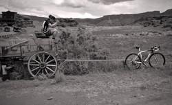 Riding big horses in Moab, Utah.