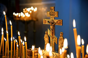 Church ,morning service, a candle flame