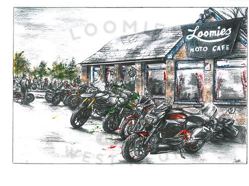 Loomies Cafe in colour- A3 size *SOLD*