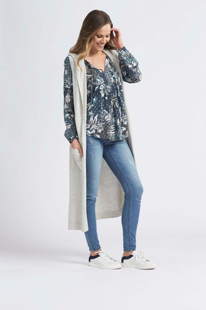 Mosaic Floral Tie Blouse, Longline Vest