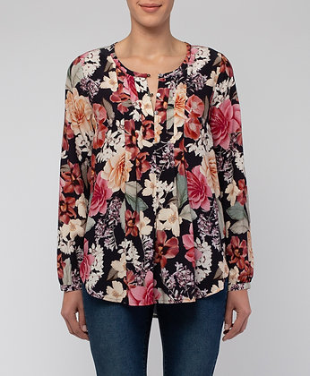 Winter Bloom Pintuck Top