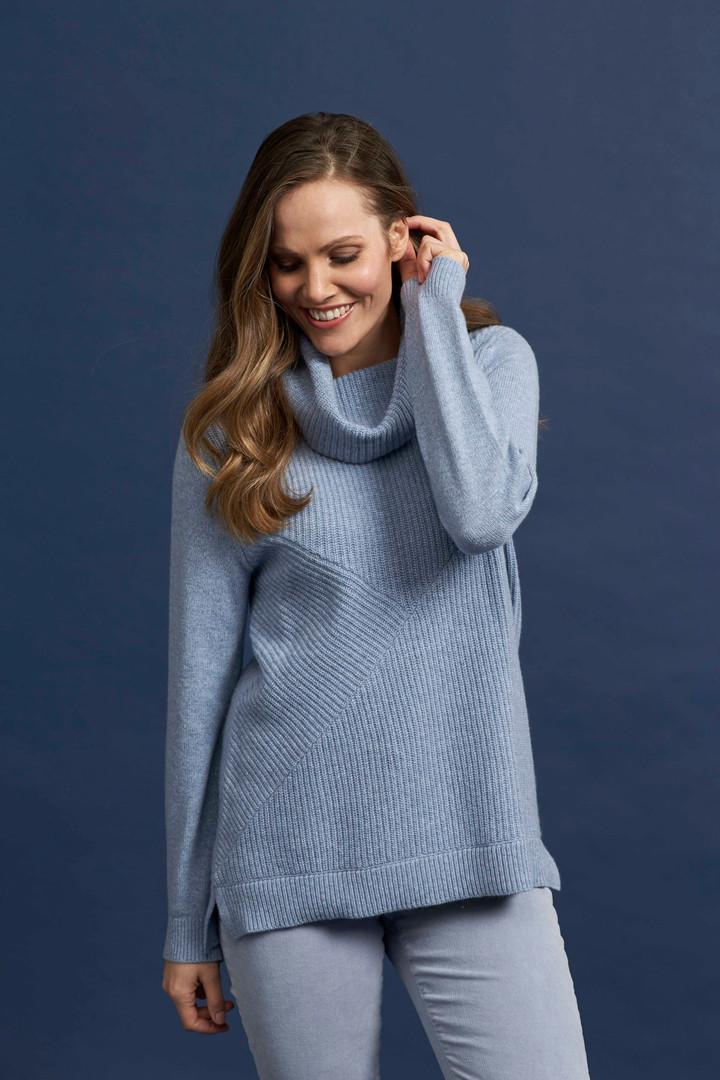 Spliced Knit Cowl Pullover