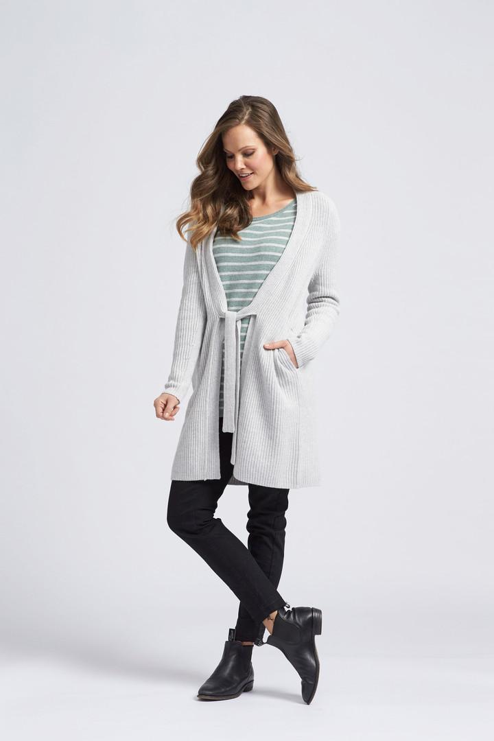Striped loungline pullover, chunky rib cardi,