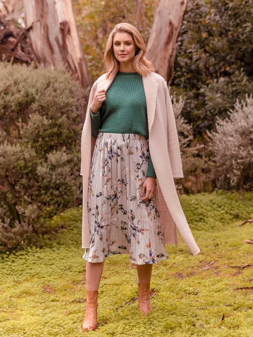 LONG LINE BOILED WOOL COATIGAN, CROP DIAGONAL DETAIL PULLOVER & WATERCOLOUR ABSTRACT FLORAL PLEAT SKIRT