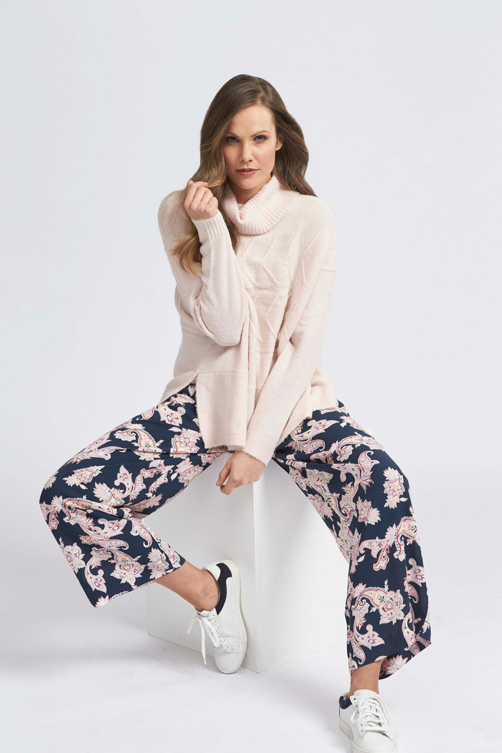 Horizontal Cable Pullover, Winter's Dawn Paisley Pant