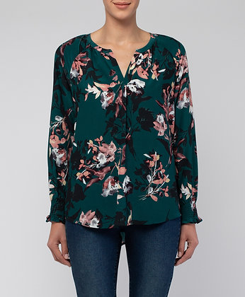 Split Neck Winter Leaf Top
