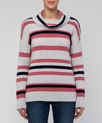 Cowl Neck Multi Stripe Pullover