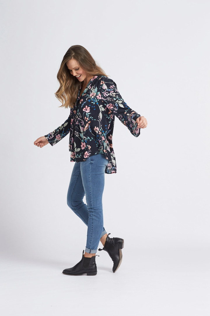 Watercolour Floral Blouse, Classic Skinny Jean