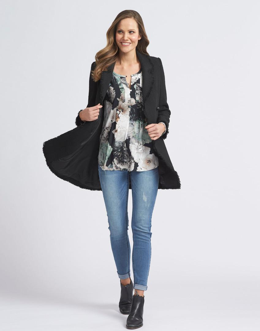 Studio Floral Blouse, Winter Boucle Jacket