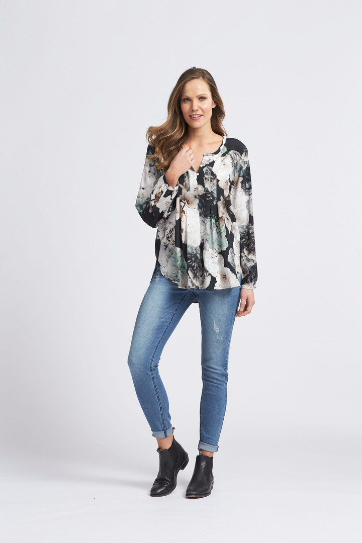 Studio Floral Blouse, Classic Skinny Jean