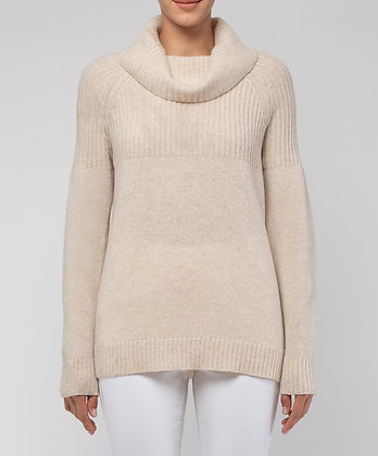 Ribbed Cowl Neck Pullover