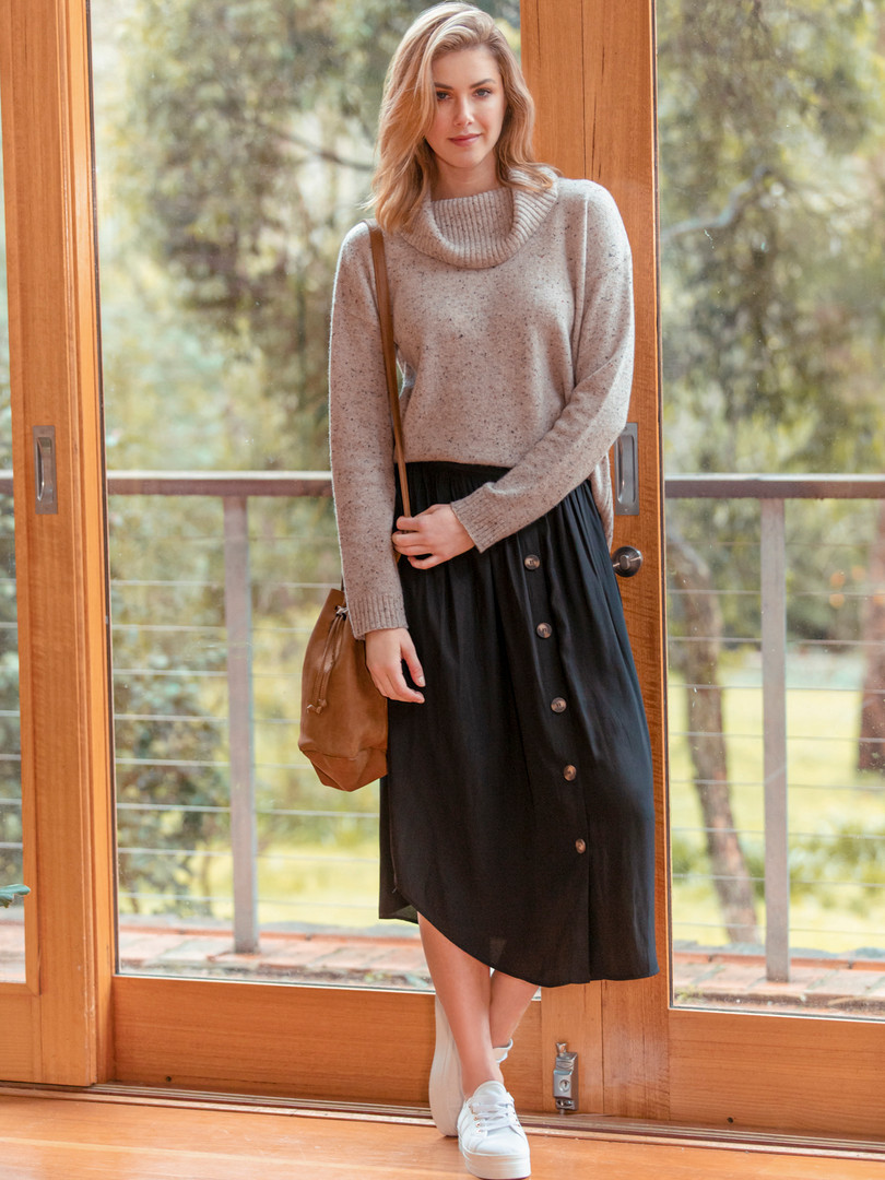 COWL NECK DONEGAL PULLOVER & BUTTON THROUGH SKIRT