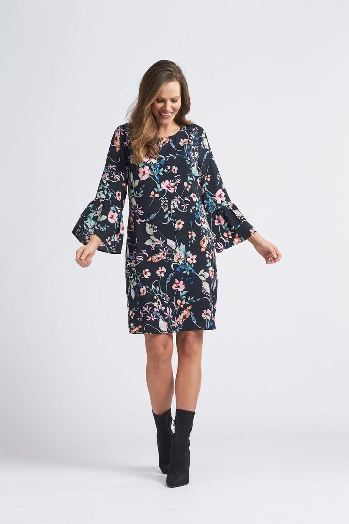 Watercolour Floral Frill Cuff Dress