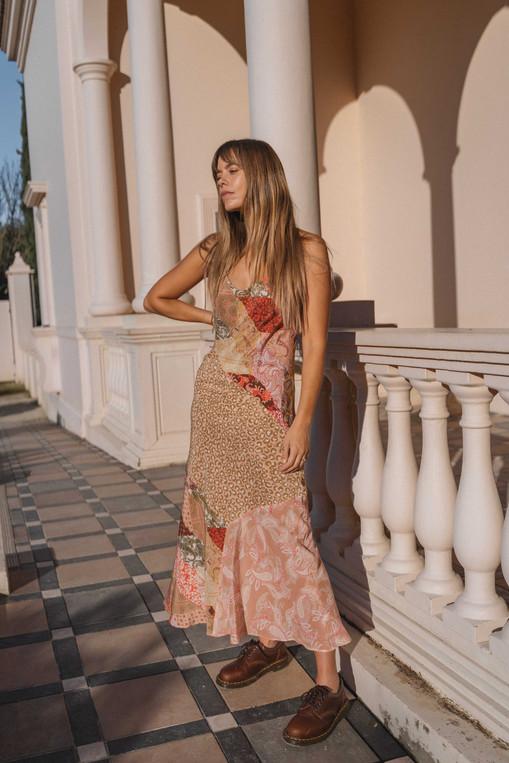 Kachel Diane Silk Bias Slip Dress