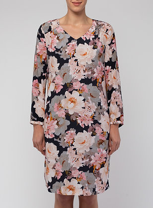 7/8 Slv Pink Blossom Dress