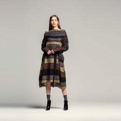 Brown Stripe Shawl Dress