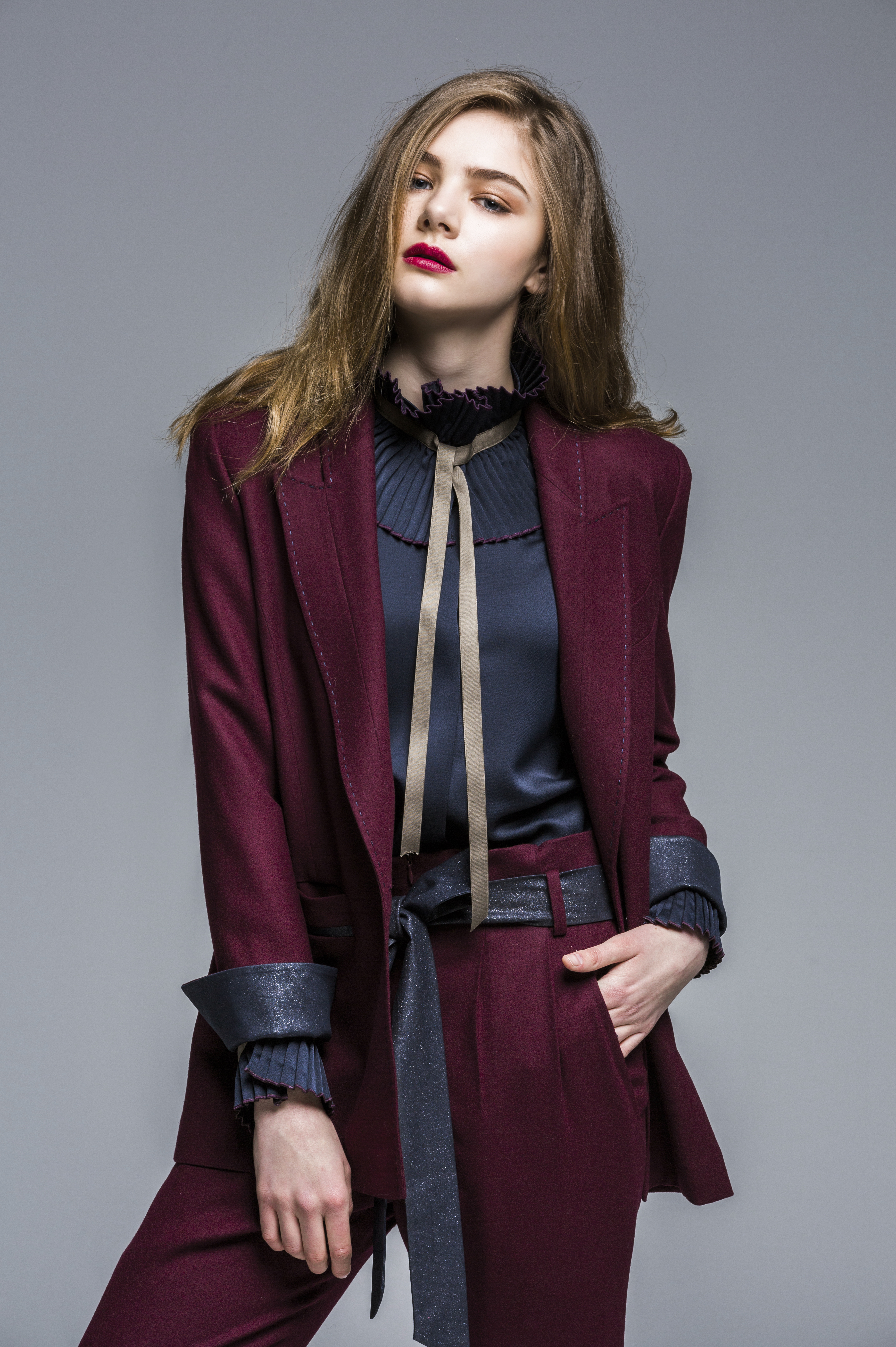 Wide Collar Pleats Blouse