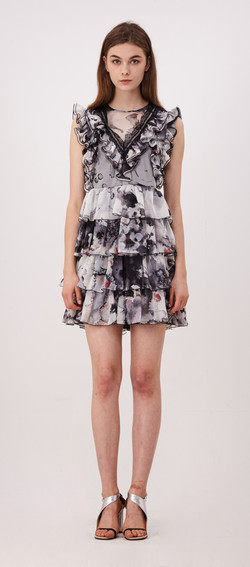 Color Dropping Ruffle Mini Dress