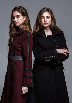 Leather Chain Detail Burgurndy Coat
