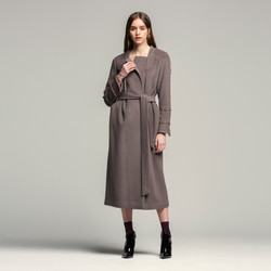 Beads Chain Wrap Maxi Coat_Violet GY