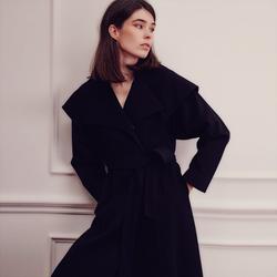 Wide Notch-Collar Wrap Maxi Coat