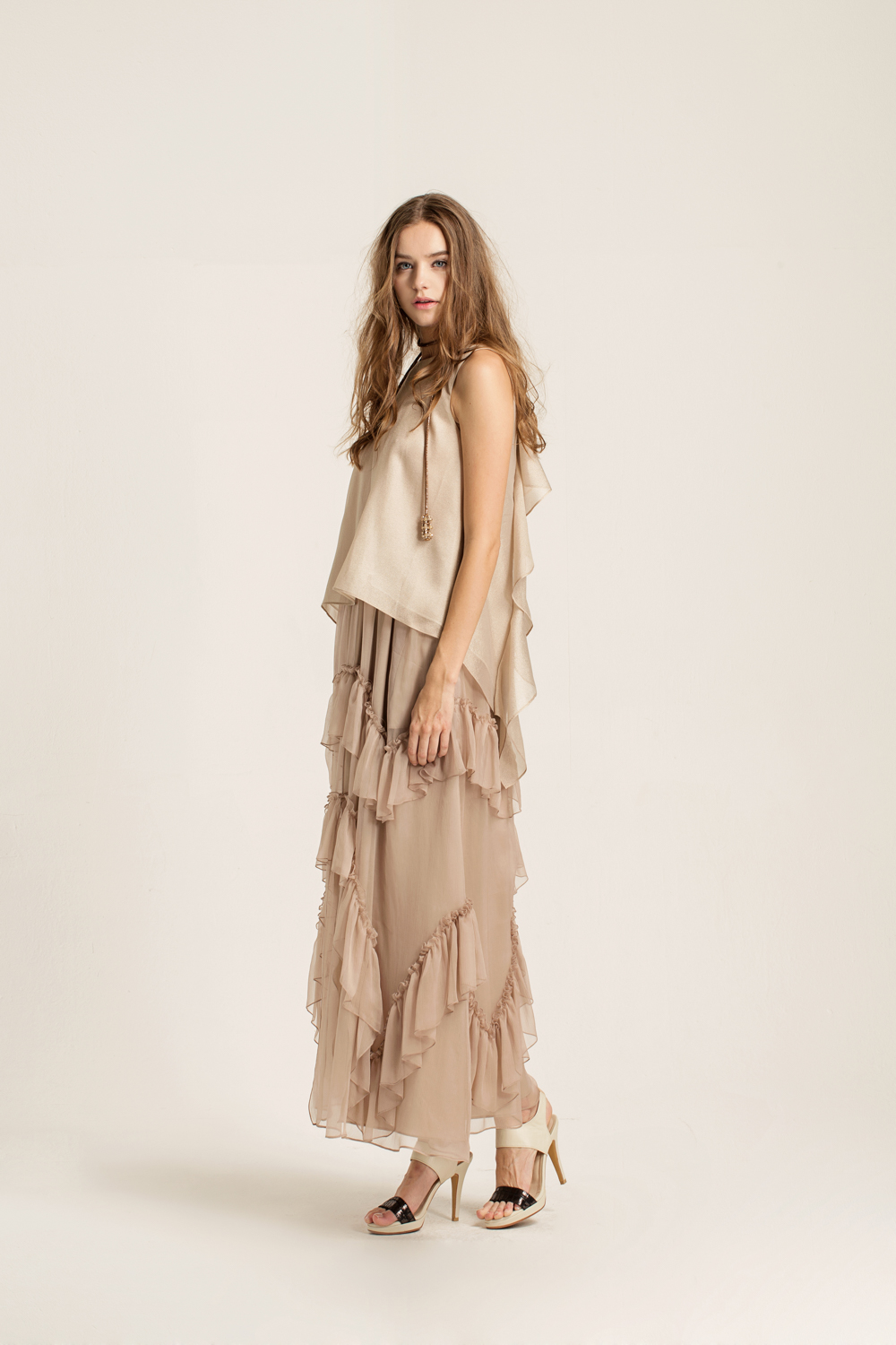 Ruffled crinkled silk maxi skirt