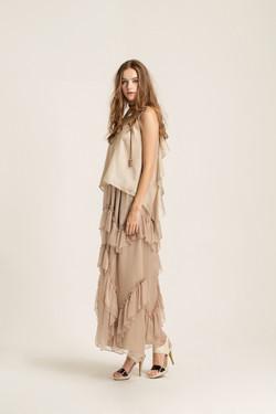 Ruffled crinkled silk maxi skirt