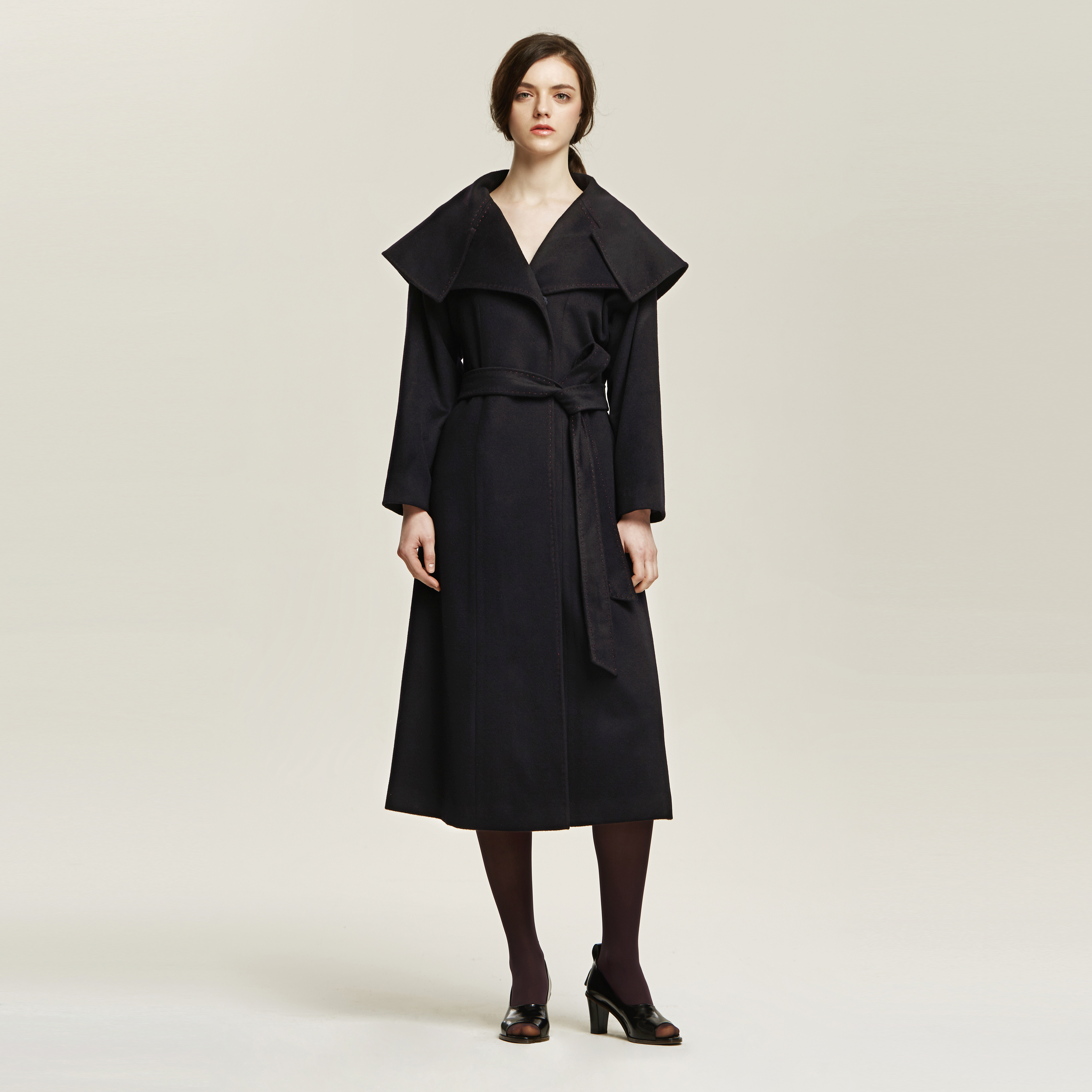 Wide Notch-Collar Wrap Maxi Coat