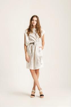 Burnout pattern asymmetric dress