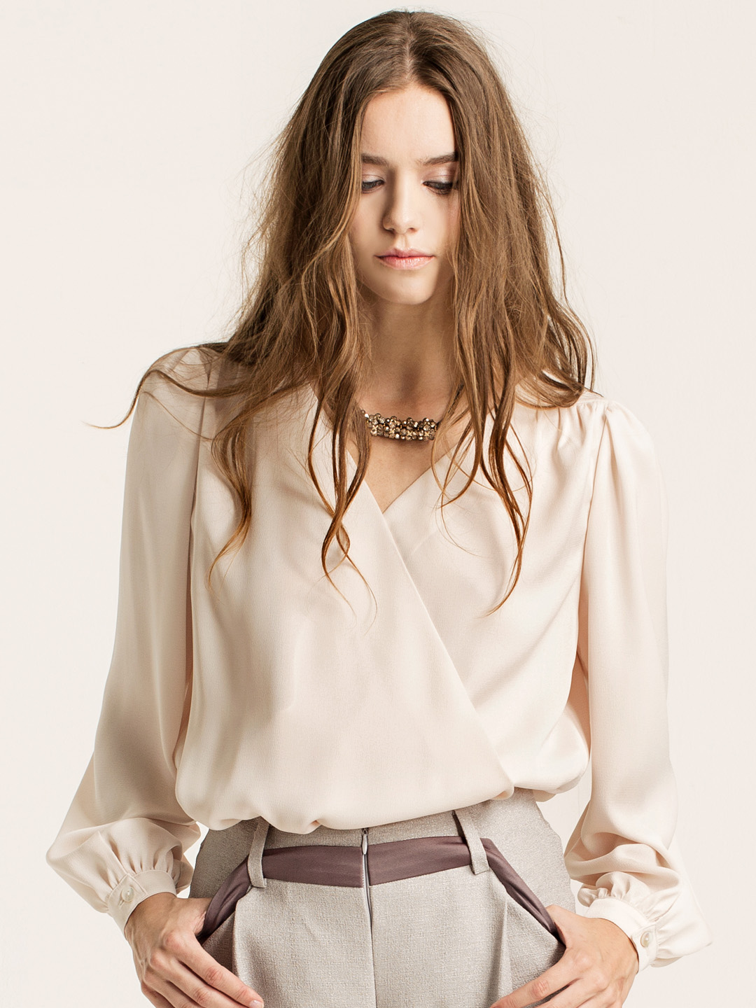 wrap-effect blouse