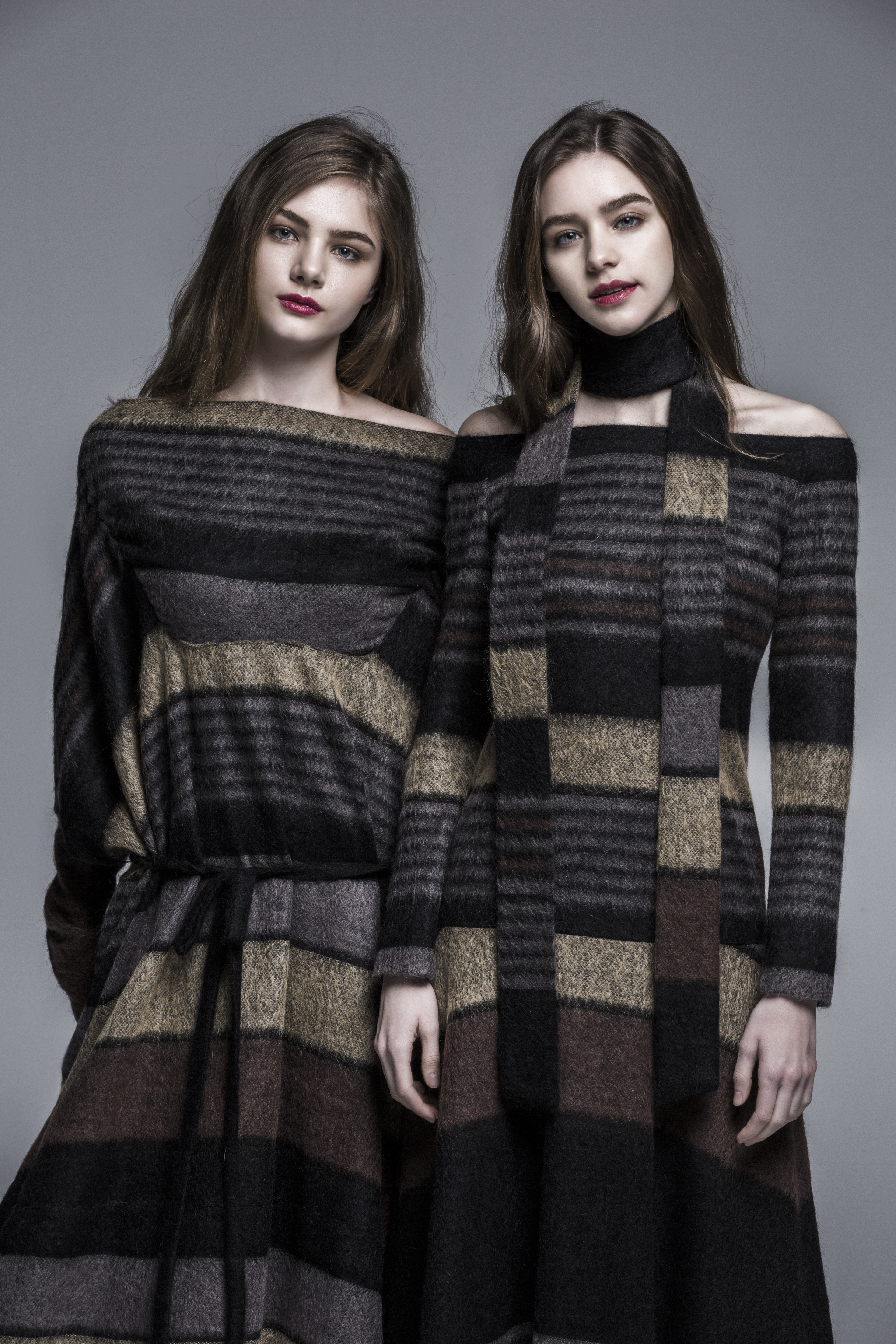 Brown Stripe Shawl Dress