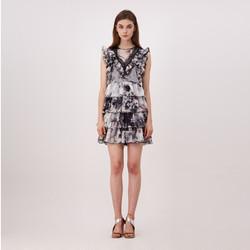 Color Dropping Asymmetric Dress
