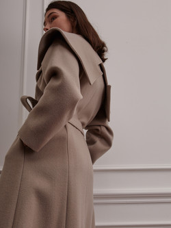 Wide Notched Collar Wrap Coat