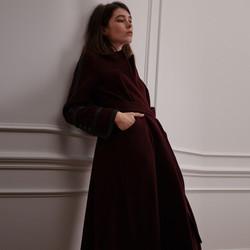 Leather Chain Wrap Maxi Coat