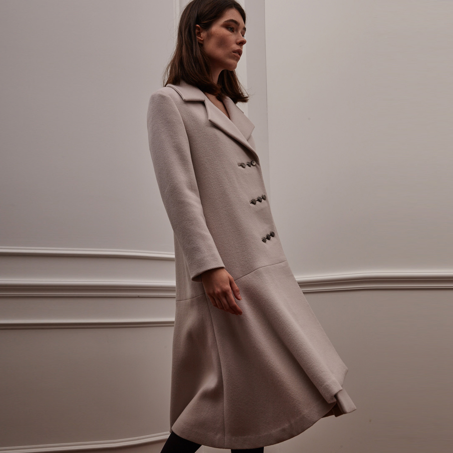 Diagonal Triple Button Coat