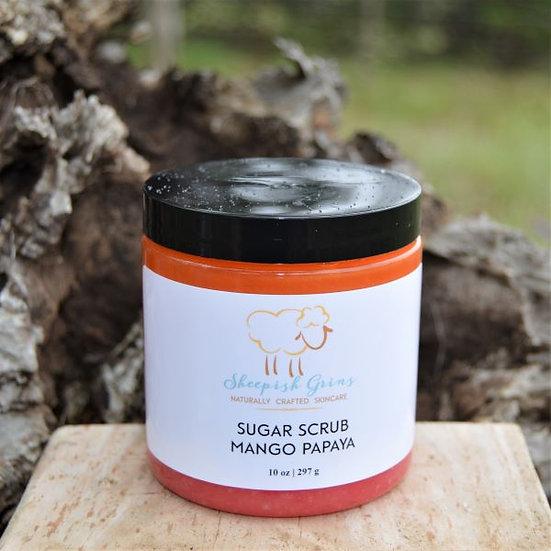 Mango Papaya Sugar Scrub Sheepish Grins All-Natural Eco-Friendly Handmade Bath & Body Boerne San Antonio Texas