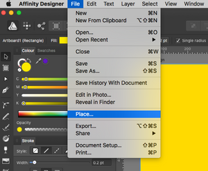 Importing images in Affinity Designer
