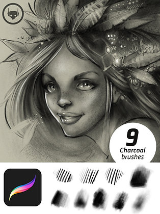 Realistic Charcoal Set for Procreate