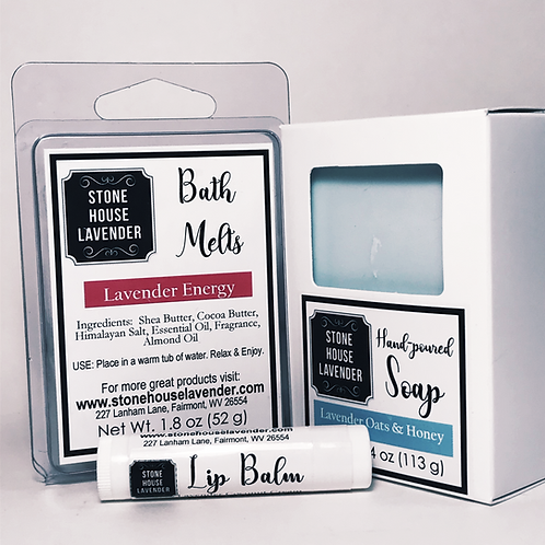 Bath Melt, Soap & Lip Balm Set