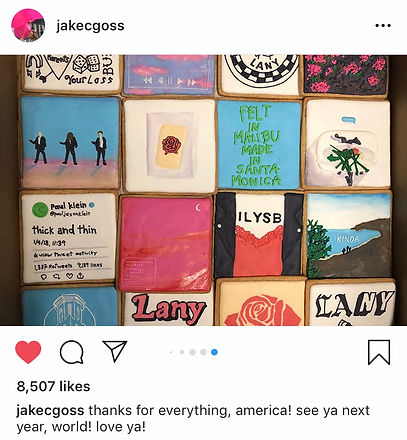 Jake Goss of the band LANY shares a photo on Instagram of their custom cookies from Cookie in the Kitchen