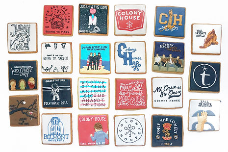 Custom decorated sugar cookies for Colony House, Judah & the Lion, and Tall Heights of their album art, merchandise, and fan art