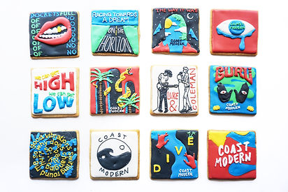 Custom decorated sugar cookies for Coast Modern of their album art, merchandise, and fan art