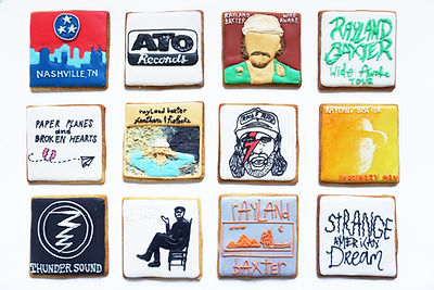 Custom decorated sugar cookies for Rayland Baxter of his album art, merchandise, and fan art.