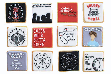 Custom decorated sugar cookies for Colony House of their album art, merchandise, and fan art