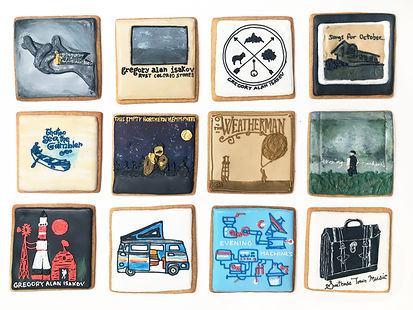 Custom decorated sugar cookies for Gregory Alan Isakov of his album art, merchandise, and fan art
