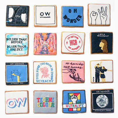 Custom decorated sugar cookies for Oh Wonder of their album art, merchandise, and fan art