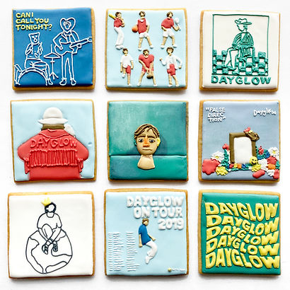 Custom decorated sugar cookies for Dayglow / Sloan Struble of his album art, merchandise, and fan art
