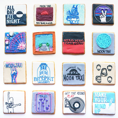 Custom decorated sugar cookies for Moon taxi of their album art, merchandise, and fan art