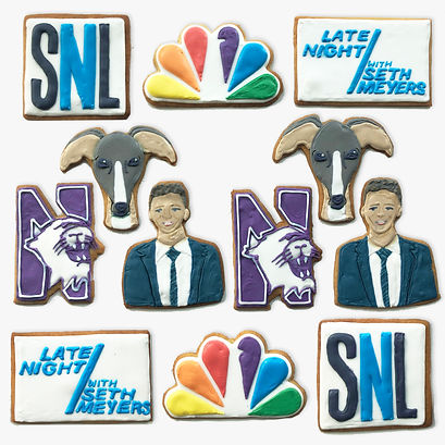Custom decorated sugar cookies for Seth Meyers
