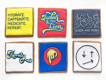 Custom decorated sugar cookies for Judah & the Lion to celebrate their album release for Pep Talks